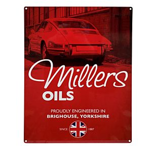 MILLERS OIL EMAILLE BORD 30 X 40 - SMALL - CLASSIC PORSCHE