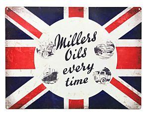 MILLERS OIL - PANNEAU ÉMAILLÉ 50 X 70 - JUMBO - CLASSIC FLAG