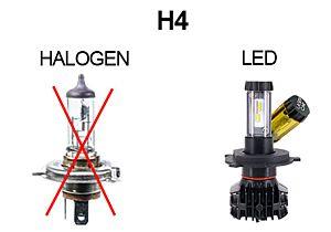 PAIRE D'AMPOULES POUR FEUX AVANT LED 12 V 4500 LM BLANC/JAUNE, H4 4XL