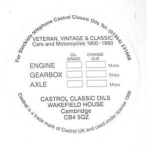 CASTROL SERVICE STICKER