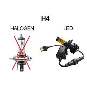 KOPLAMPEN H4 6V LED 4500 LM - PAAR - GROOTLICHT WIT /GEEL