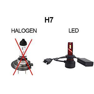 KOPLAMPEN H7 LED 5000 LM - PAAR - PUUR WIT