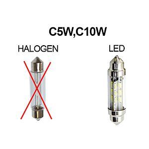KNIPPERLICHTSHUTTLE LED-LAMP 6V 42MM PUUR WIT
