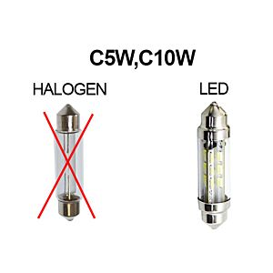 KNIPPERLICHTSHUTTLE LED-LAMP 6V 39MM PUUR WIT